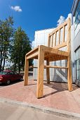 Large Chair Wooden Sculpture Near The Furniture Factory In Borovichi, Russia