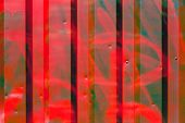 picture of red siding  - Red color corrugated metal sheet as background - JPG
