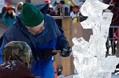 Ice Sculptor And Assistant At Winter Carnival