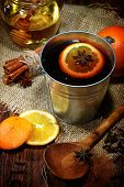 Mulled Wine Preparation, Orange, Honey, Cinnamon, Carnation And An Anise