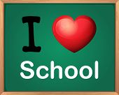 Illustration of i love school sign