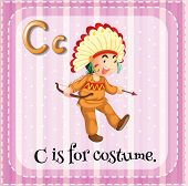 Illustration of a letter C is for costume