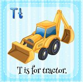 Illustration of a letter T is for tractor