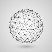 image of dodecahedron  - Polygonal sphere of information art - JPG