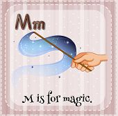 Illustration of a letter M is for magic