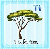 Illustration of a letter T is for tree