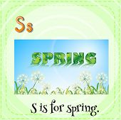 Illustration of a letter S is for spring