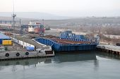 Train Ferry In The Port Of Crimea