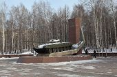 NIZHNY TAGIL, RUSSIA - JANUARY 29, 2015: Photo of Monument to the creators of the T-72.