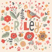 Bright card with beautiful name Riley in poppy flowers, bees and butterflies. Awesome female name design in bright colors. Tremendous vector background for fabulous designs