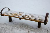 Bench In The Park Under The Snow