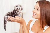 Woman Holding Small Cute Kitten