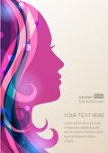 Beautiful Girl Silhouette With Colorful Hair, Vector Background. Abstract Design Concept For Beauty