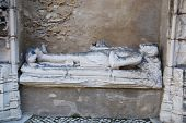 image of carmelite  - manueline tomb at the famous Carmo Church in Lisbon Portugal - JPG