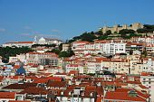 Lisbon cityscape with Sao Jorge Castle and Graça Church