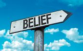 Belief sign with sky background