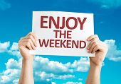Enjoy the Weekend card with sky background