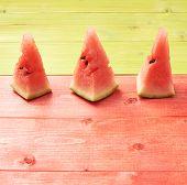 Multiple watermelon pieces composition
