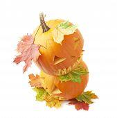 Two Jack-o'-lanterns pumpkin heads
