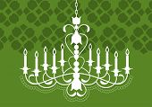 chandelier hanging from ceiling over wallpaper pattern (pattern grouped for other uses)