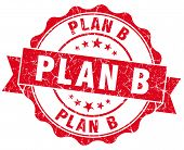 Plan B Red Grunge Seal Isolated On White