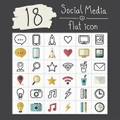 Vector Social Media Icons Illustration Set Concept