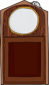 picture of nursery rhyme  - Empty cartoon antique clock with mouse on top - JPG