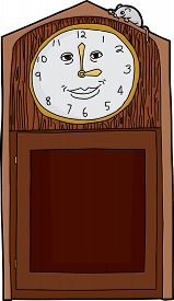 stock photo of nursery rhyme  - Happy face on antique clock with mouse on top - JPG