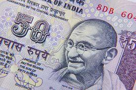 foto of gandhi  - Close Up Of An Indian 50 Rupee Note Featuring Mahatma Gandhi - JPG