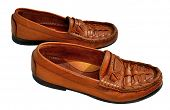 pic of loafers  - Brown men genuine leather shoes on the white background - JPG