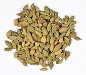 picture of cardamom  - Heap of cardamom seeds on a white background - JPG