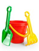 picture of shovel  - Baby toy bucket and shovel rake isolated on white background - JPG