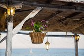 picture of hook  - Beautiful hanging basket with artificial flowers hooked on a wooden shelter on the sea shore surrounded by glowing vintage lamps - JPG