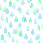 picture of pastel colors  - Rainy abstract watercolor seamless vector pattern rain pastel colored aquarelle isolated background - JPG