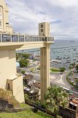 picture of elevator  - Elevator Lacerda famous dot overlooking the Bay of All Saints that connects the upper town and lower town in Salvador in Bahia - JPG