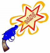 pic of handgun  - A snub nose handgun with bang text isolated over a white background - JPG