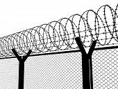foto of barbed wire fence  - Fence with a barbed wire - JPG