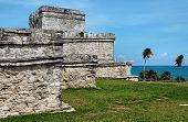 Mayan Ruins At Ocean In Tulum, Mexico
