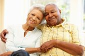 image of senior adult  - Senior African American couple at home - JPG