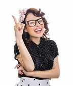 stock photo of cheer-up  - Cheerful happy young woman gesturing - JPG