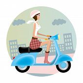 stock photo of vespa  - This graphic is vespa girl - JPG