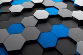stock photo of sci-fi  - Abstract 3d rendering of futuristic surface with hexagons - JPG