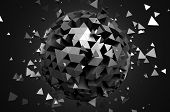 image of fi  - Abstract 3d rendering of low poly sphere with chaotic structure - JPG