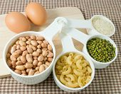 picture of carbohydrate  - Food Ingredient Raw Pasta Rice Peanuts Mung Beans and Egg High in Carbohydrate and Protein - JPG
