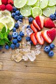 pic of infusion  - Sliced fresh organic fruits prepared to make infused water - JPG