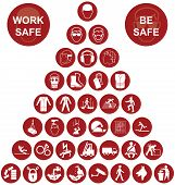 pic of ppe  - Red construction manufacturing and engineering health and safety related pyramid icon collection isolated on white background with work safe message - JPG