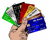 image of debit card  - A hand holding a collection of credit and debit cards over a white background - JPG