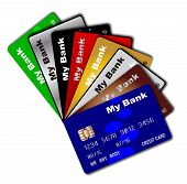 foto of debit card  - A collection of credit and debit cards fanned out over a white background - JPG