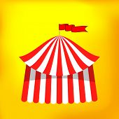 picture of circus tent  - Circus Tent Icon Isolated on Yellow Background - JPG