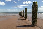stock photo of sea-scape  - Shot of a beach on a sunny day looking out to the sea - JPG